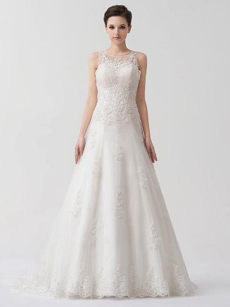 Milanoo Vestido de novia de tul de color marfil con escote de corazon