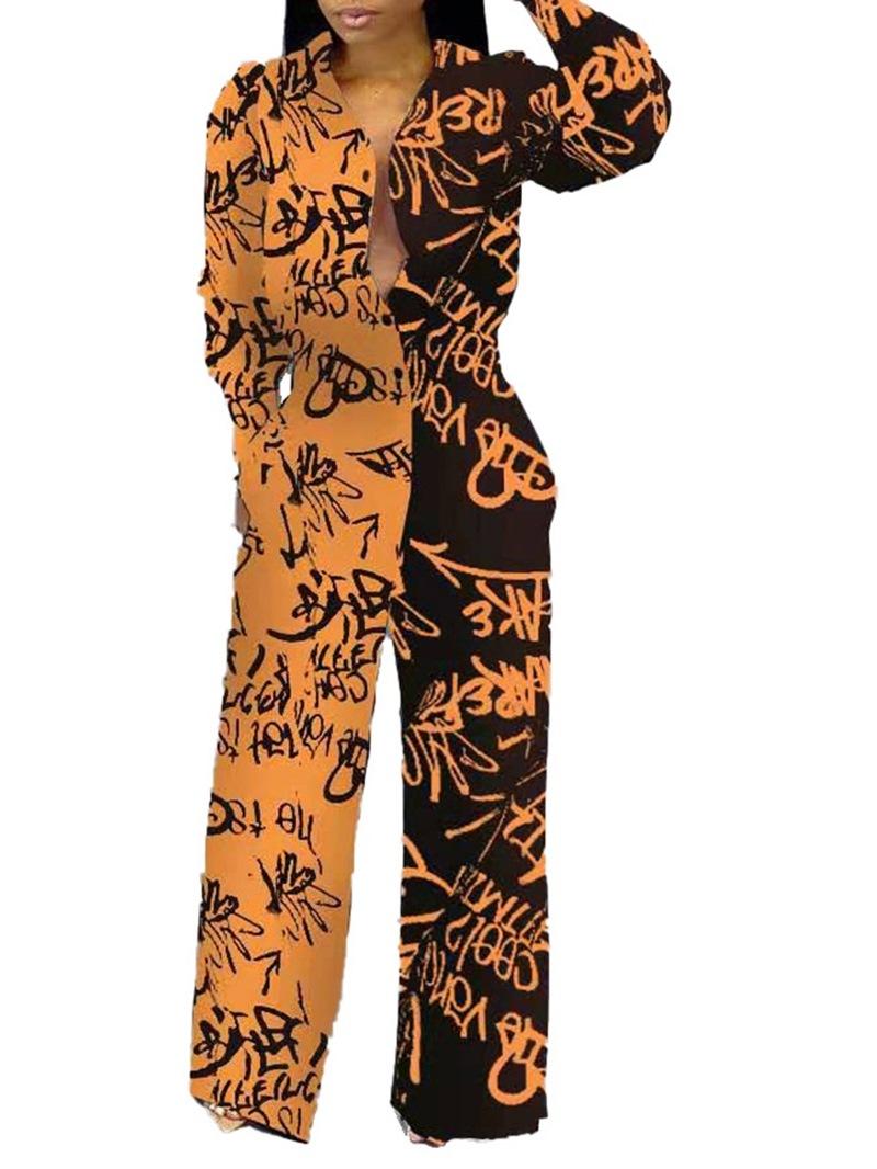 Ericdress Casual Full Length Color Block Slim Straight Jumpsuit