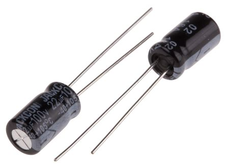 RS PRO 22μF Electrolytic Capacitor 100V dc, Through Hole (100)