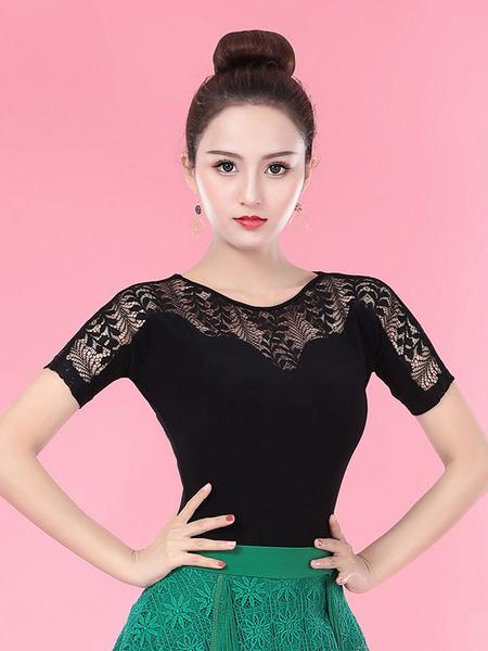 Milanoo Ballroom Dance Costumes Black Women Rayon Lace Semi Sheer Ballroom Dancer Top Halloween