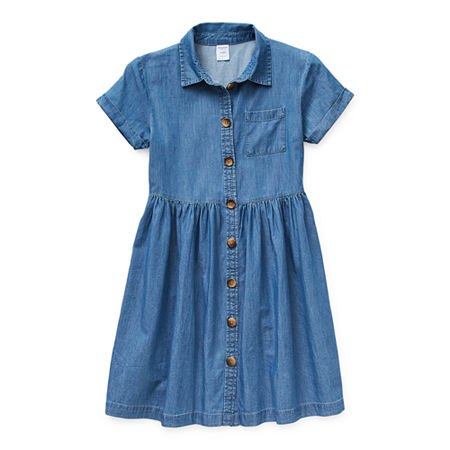 Arizona Little & Big Girls Short Sleeve Cuffed Sleeve Shirt Dress, X-large (16) , Blue
