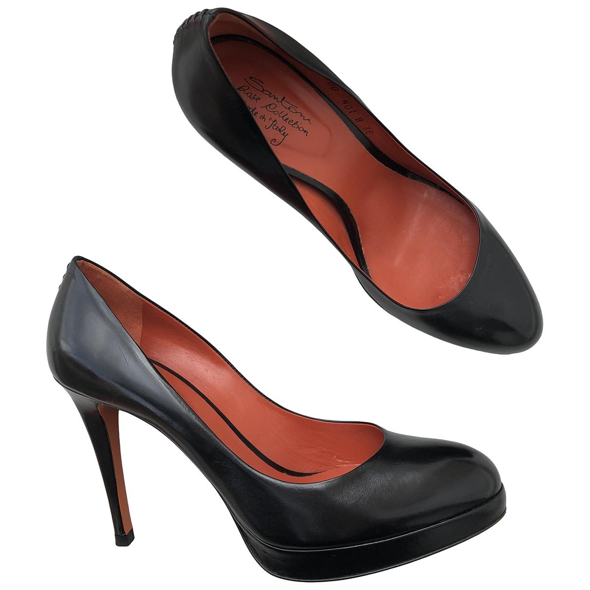 Santoni \N Black Leather Heels for Women 38 EU