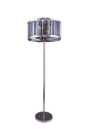 1203FL25PN-SS/RC 1203 Chelsea Collection Floor Lamp D: 25 H: 72 Lt: 6 Polished nickel Finish (Royal Cut Silver Shade