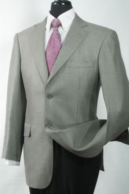 Mens Luxurious Wool and Silk Blazer Grey Shark Skin