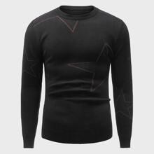 Pullover mit Stern Muster und rundem Kragen