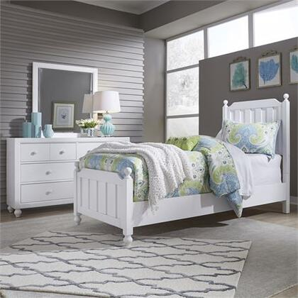 Cottage View Collection 523-YBR-FPBDM Full Panel Bed  Dresser and Mirror with Bolt On Rails  Bun Feet and Center Supported Slat System with White