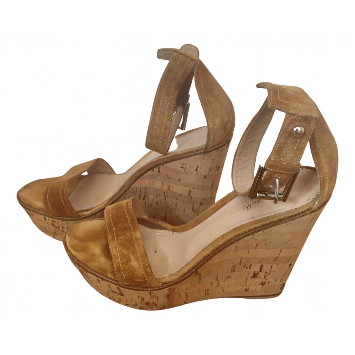 Gianvito Rossi - Espadrilles   pour femme en suede - camel