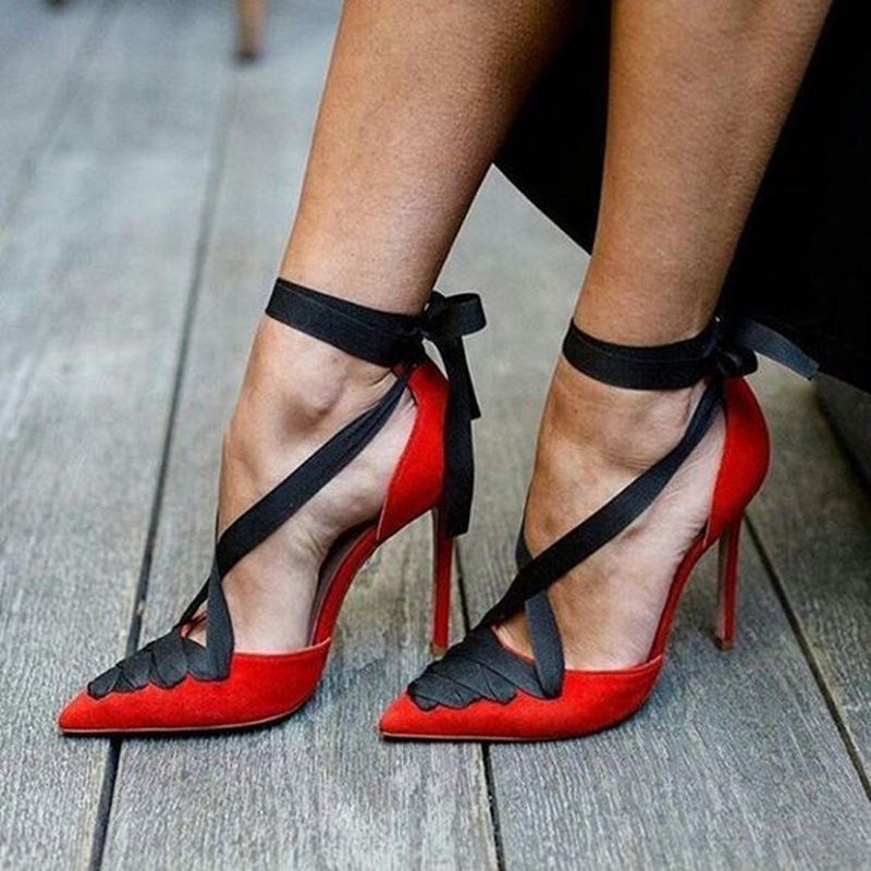 Ericdress Unique Color Block Lace-Up Stiletto Heel Pumps