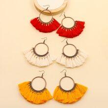 3pairs Tassel Round Drop Earrings