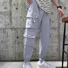 Pantalones cargos con bolsillo con solapa
