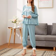 Embroidered Ruffle Trim Top and Pants PJ Set