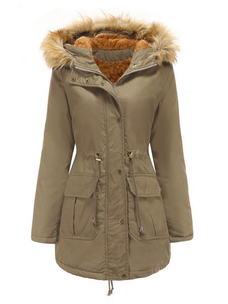 Milanoo Women Parka Coats Hooded Long Sleeve Drawstring Winter Coat With Pockets