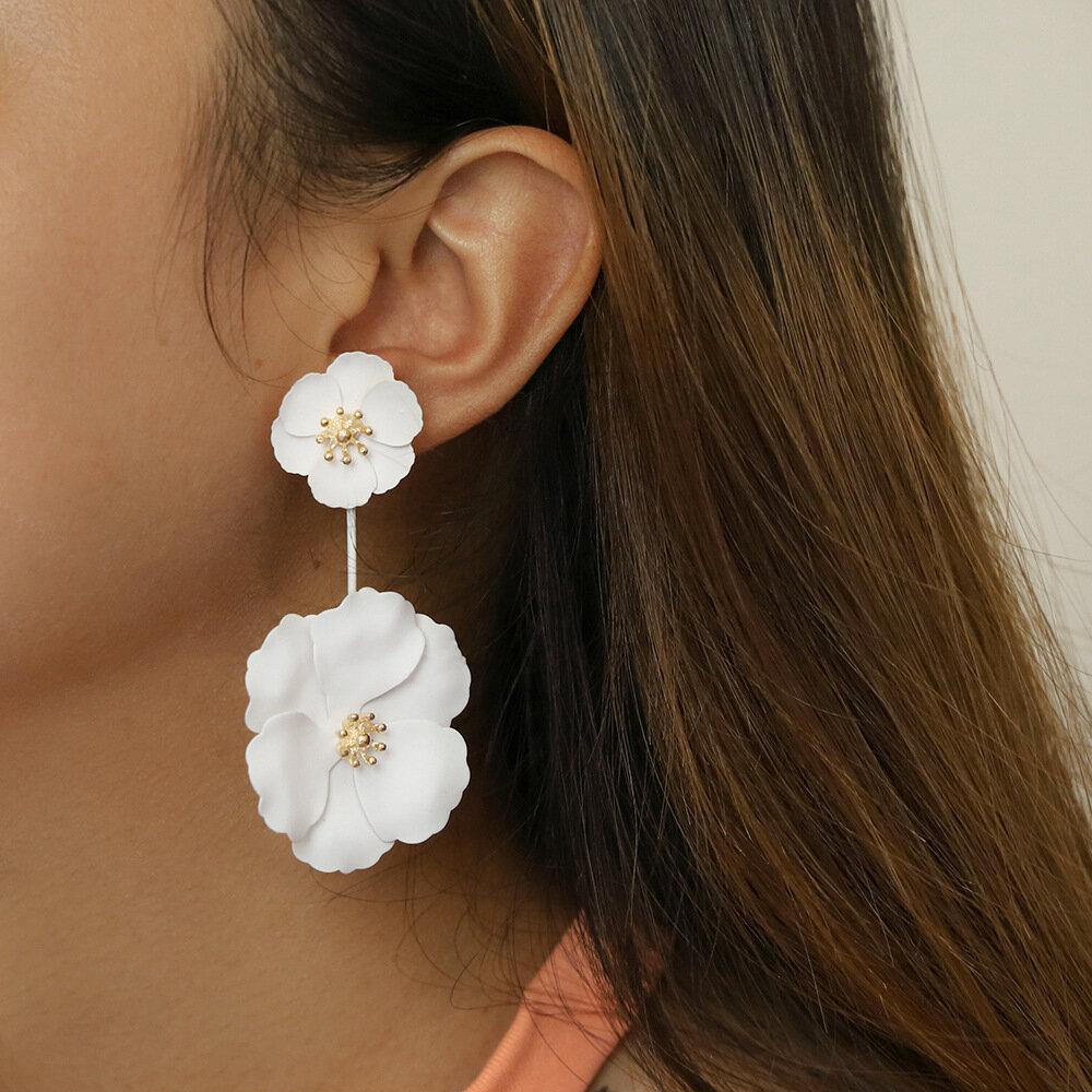 Vintage Geometric Camellia Detachable Earrings Irregular Flower Pendant Earrings Chic Jewelry