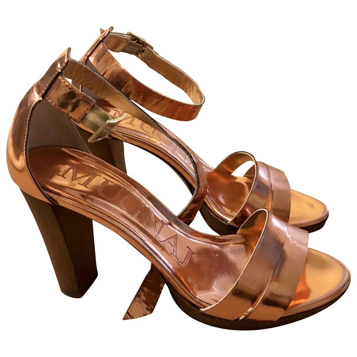 Mugnai - Sandales   pour femme en cuir - metallise