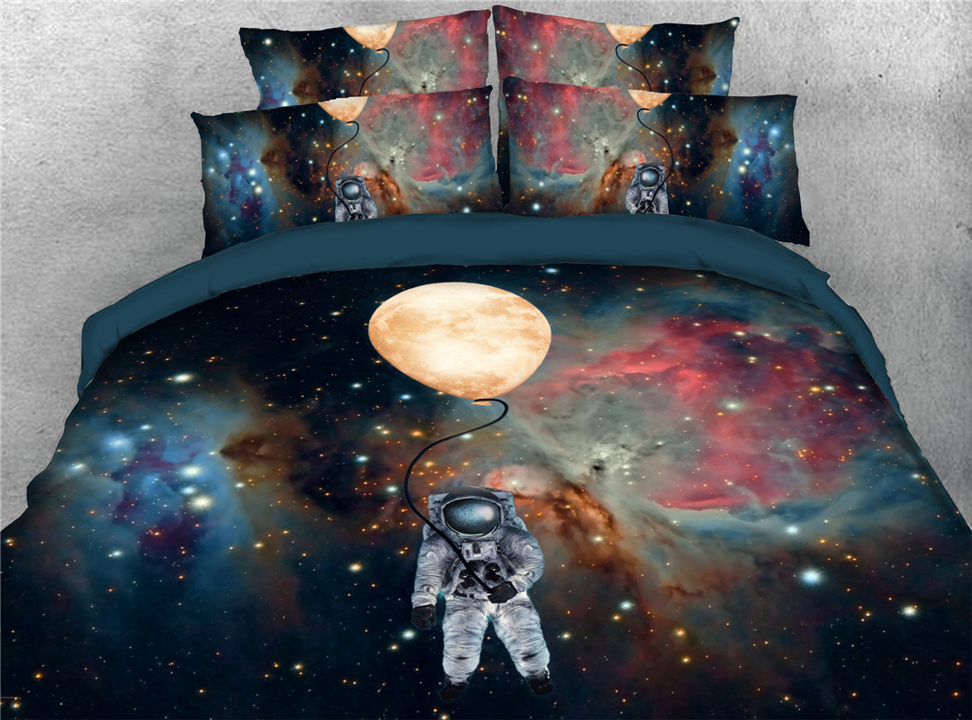 Astronaut Galaxy Ballon Spaceman  Five-Piece Set Machine Colorfast Wear-resistant Set Polyester Bedding Sets