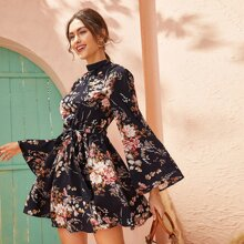 Tie Open Back Self Belted Floral Print Dress