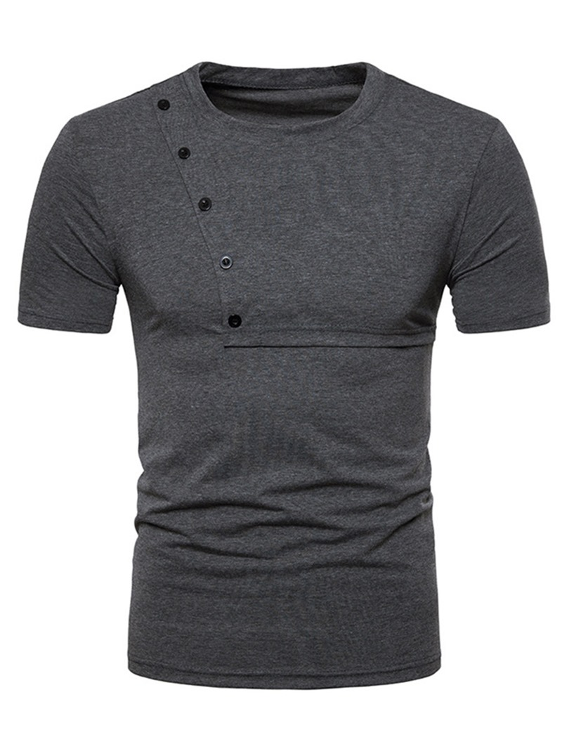 Ericdress Plain Scoop Mens Short Sleeve Button Desinged Tee Shirt