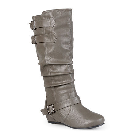 Journee Collection Womens Tiffany Extra Wide Calf Riding Boots, 11 Medium, Gray