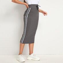 Drawstring Waist Striped Tape Side Rib-knit Skirt