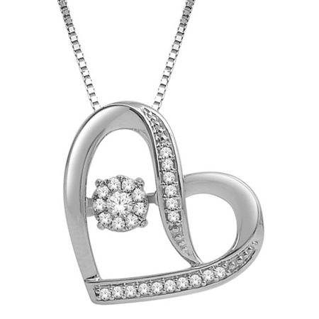 Love in Motion 1/7 CT. T.W. Diamond Sterling Silver Sideways Heart Pendant, One Size , No Color Family