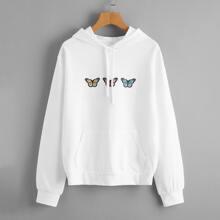 Butterfly Print Kangaroo Pocket Hoodie