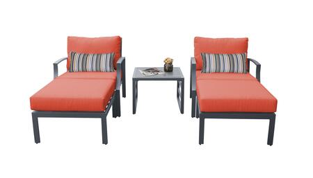 Lexington LEXINGTON-05b-TANGERINE 5-Piece Aluminum Patio Set 05b with 2 Club Chairs  1 End Table and 2 Ottomans - Ash and Tangerine
