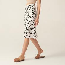 Falda de saten fruncido de cintura V