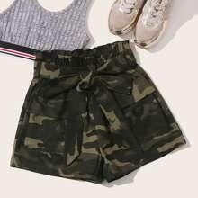 Paperbag Waist Belted Flap Pocket Camo Shorts