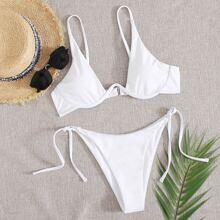 White Tie Side Bikini Swimsuit