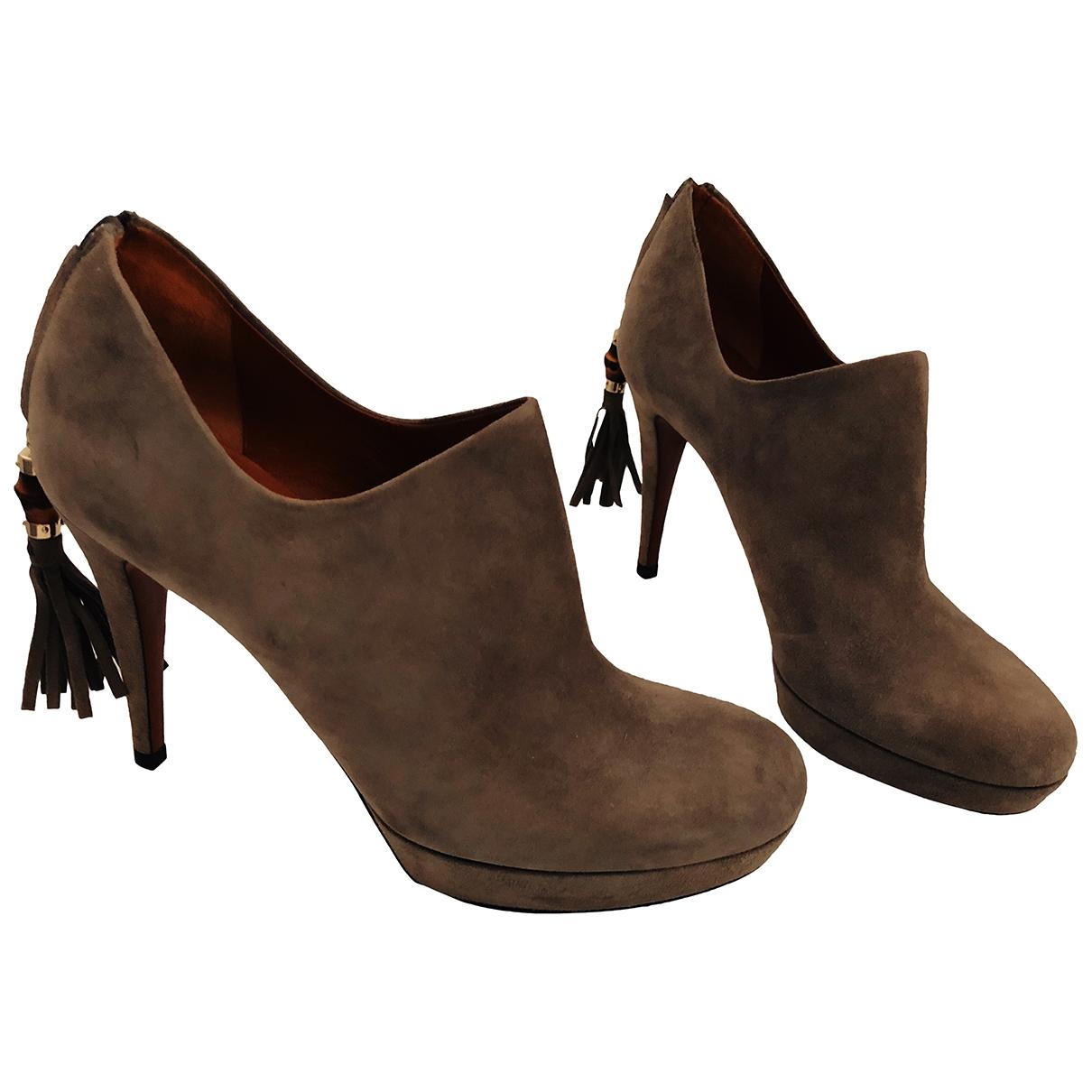 Gucci - Boots   pour femme en suede - gris