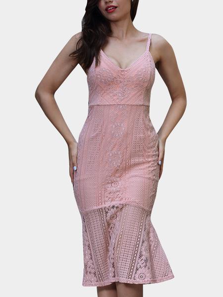 Yoins Pink Spaghetti deep V-neck Open Back Fishtail Lace Dress