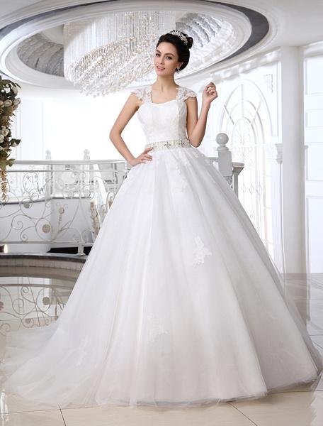 Milanoo Vestido de novia de tul de color marfil con escote cuadrado