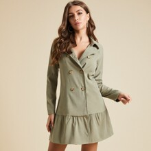 vestido de manga raglan bajo fruncido con botones