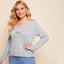 Pullover mit V Kragen und Twist vorn