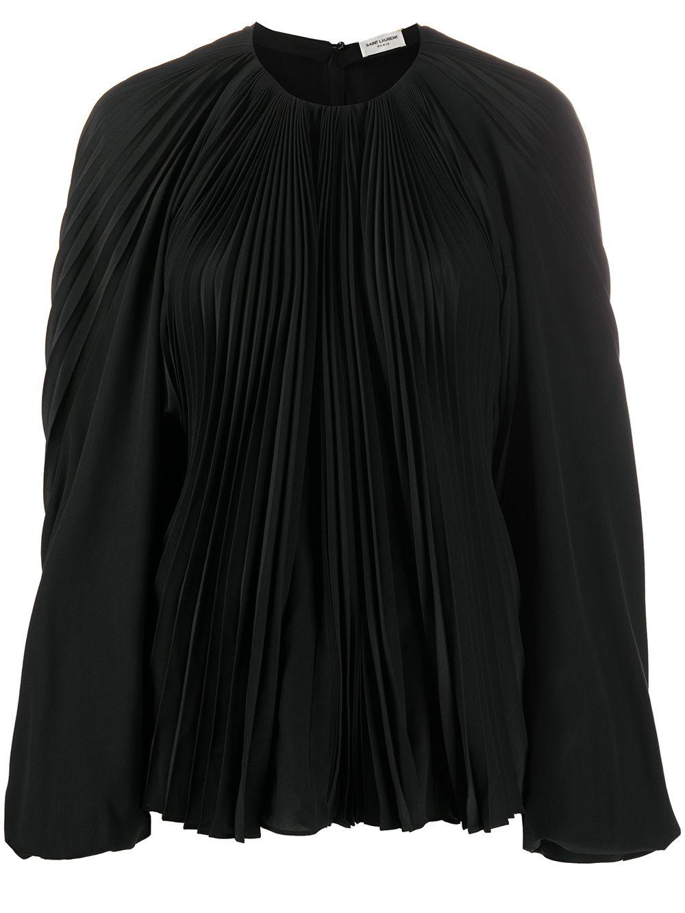 Silk Balloon Sleeve Pleated Blouse