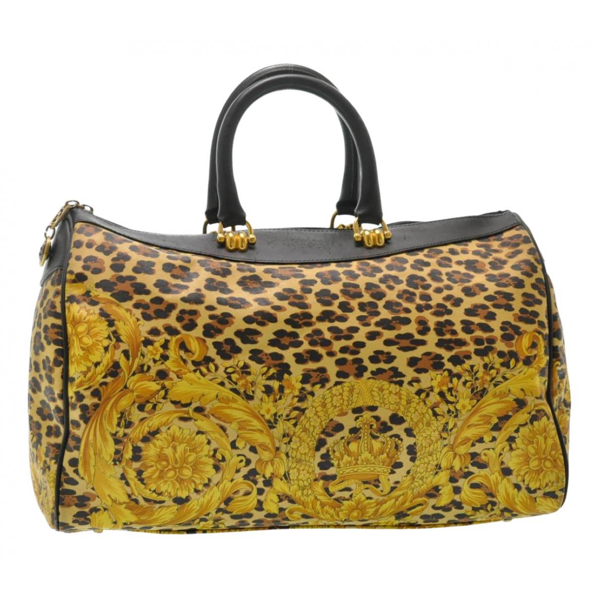 Gianni Versace - Sac de voyage   pour femme en toile - jaune