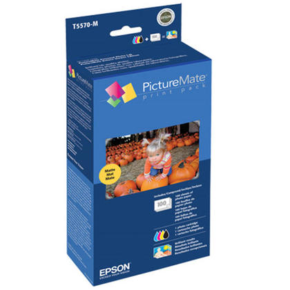 Epson T5570-M Original Photo Ink Cartridge and Photo Paper Combo for PictureMate Printer