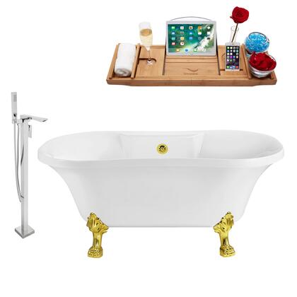 NH100GLD-GLD-140 Faucet and Tub Set with 60
