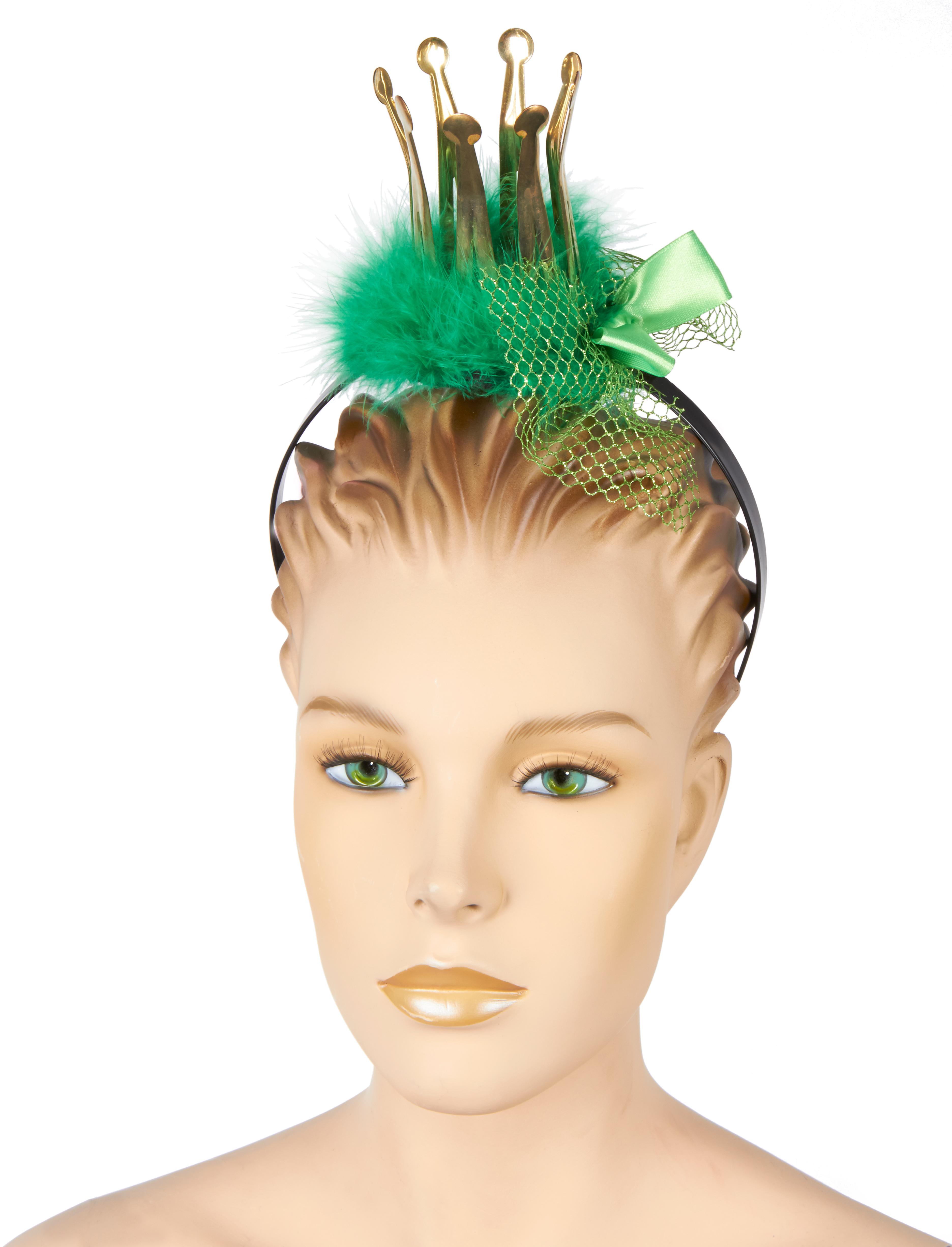 Kostuemzubehor Haarreif mit Mini Krone gruen