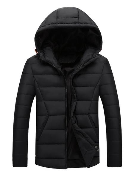 Milanoo Men Puffer Coat Hooded Quilted Coat Zipper Long Sleeve Polyester Winter Coat