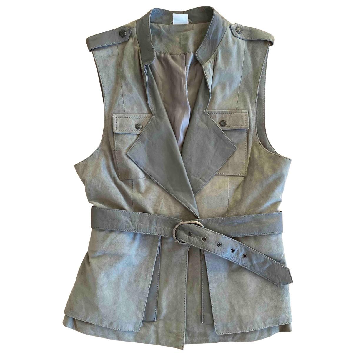 - Top Epaulettes pour femme en cuir - gris