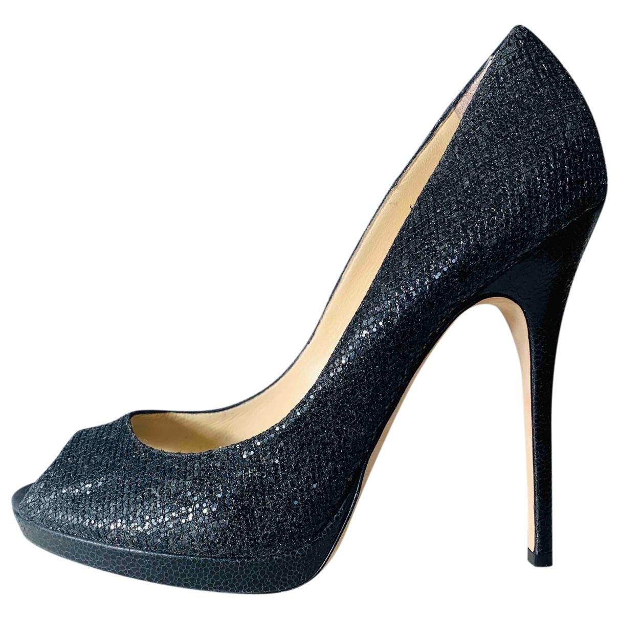 Jimmy Choo \N Black Glitter Heels for Women 40 EU