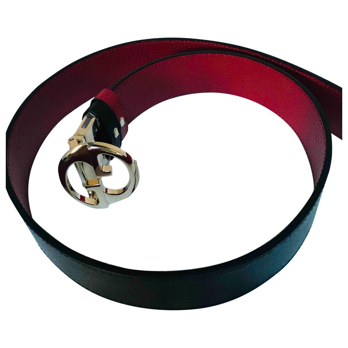 Gucci Interlocking Buckle Black Leather belt for Women 80 cm