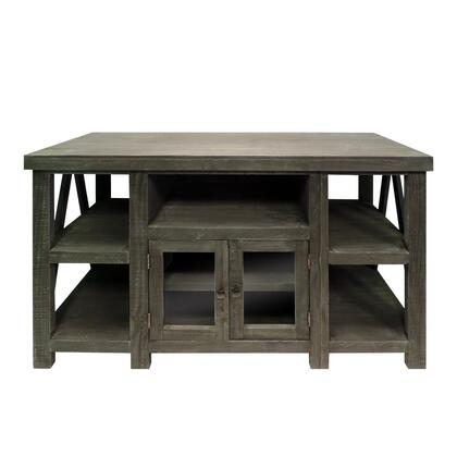 UPT-205747 52 Inch Handmade Wooden TV Stand with 2 Glass Door Cabinet  Distressed