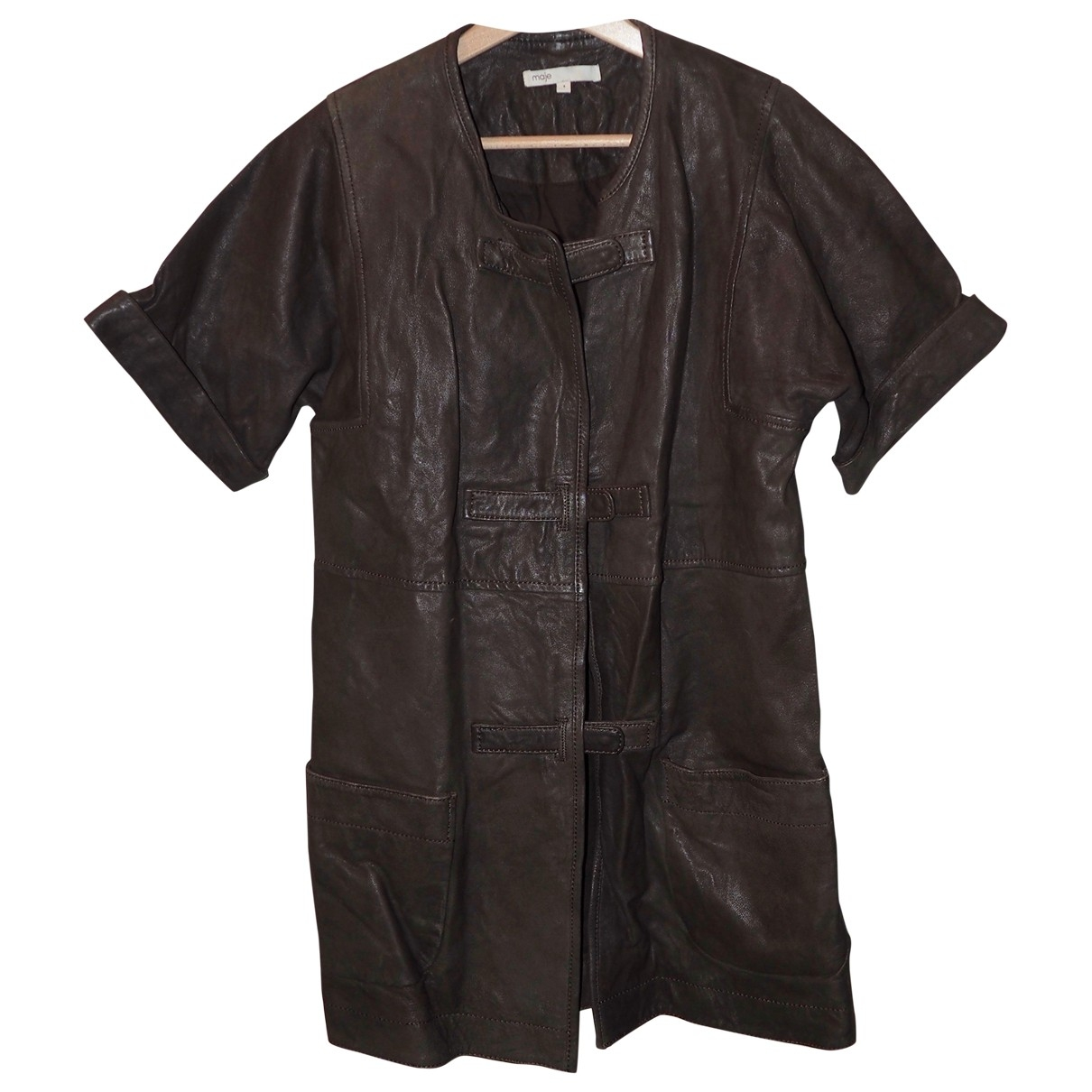 Maje \N Brown Leather jacket for Women 1 0-5