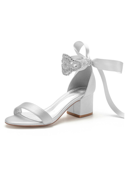 Milanoo Satin Wedding Shoes Ivory Open Toe Bows Lace Up Bridal Shoes Block Heel Sandals