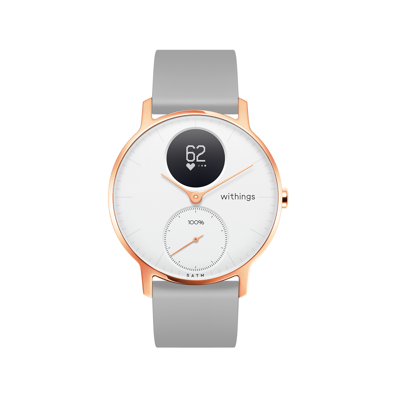 Withings Steel HR (Nokia), 36mm, Blanc & Or Rose - Montre connectee hybride - Rythme cardiaque, Notifications - Boutique Officielle Withings