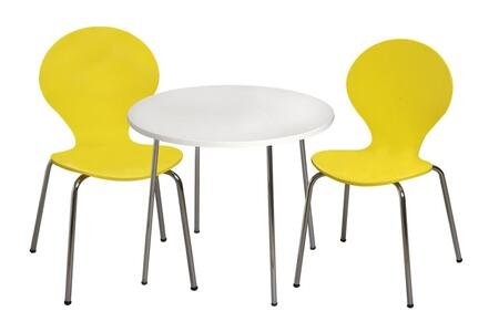 3012Y Modern Children's Table and  2 Chair Set with Chrome Legs (Yellow Color