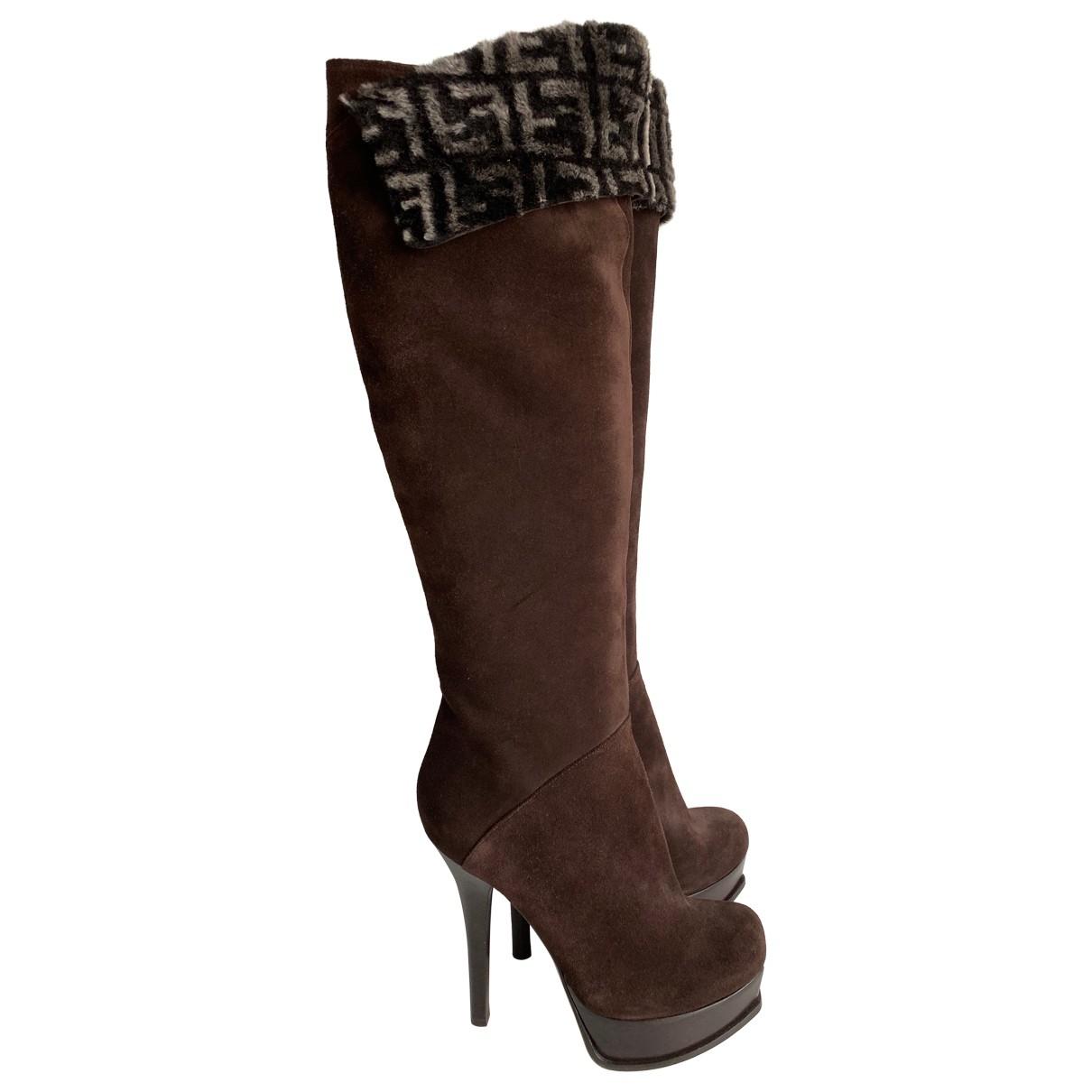 Fendi \N Brown Suede Boots for Women 38.5 EU