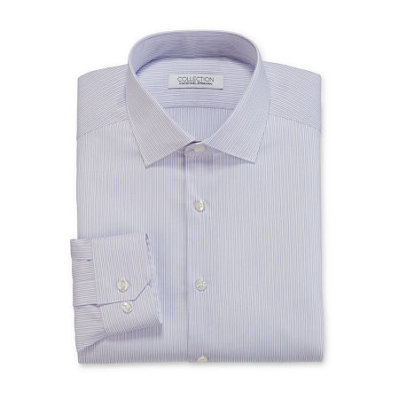 Collection by Michael Strahan Mens Spread Collar Long Sleeve Wrinkle Free Stretch Dress Shirt, 15.5 34-35, White